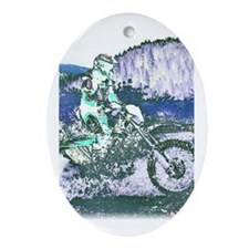 """Mountain Trail Riding"" Oval Ornament"