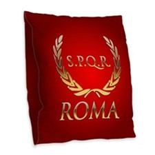 Roman Burlap Throw Pillow