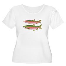 Pacific Coho Salmon fish couple Plus Size T-Shirt
