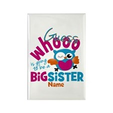 Personalized Big Sister - Owl Rectangle Magnet