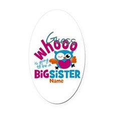 Personalized Big Sister - Owl Oval Car Magnet