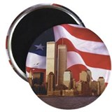 Flag and Twin Towers Magnet