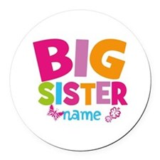 Personalized Name - Big Sister Round Car Magnet