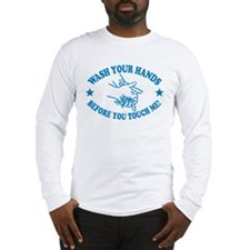 Wash Your Hands! Blue Long Sleeve T-Shirt