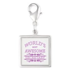 World's Most Awesome Secretary Silver Square Charm