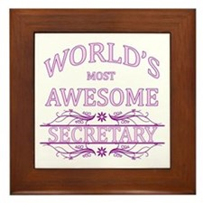 World's Most Awesome Secretary Framed Tile