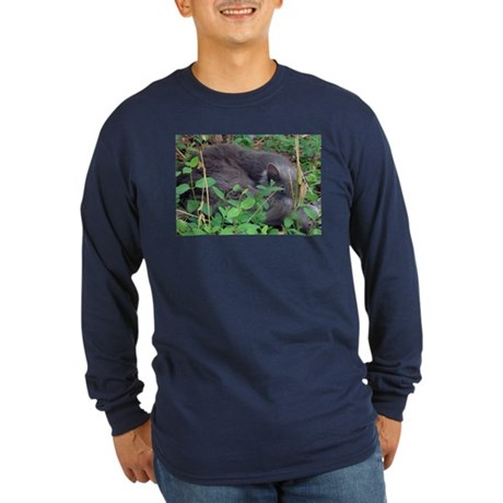 Kitten in Honeysuckle Long Sleeve Dark T-Shirt