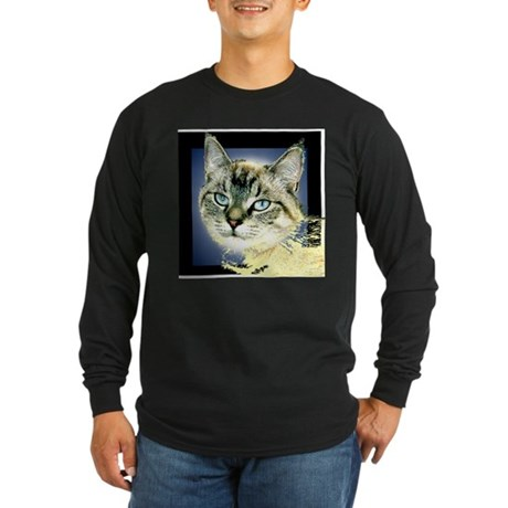 Blue Eyed Kitten Long Sleeve Dark T-Shirt