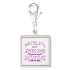 World's Most Awesome Lawyer Silver Square Charm