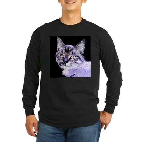 Purple Cat Long Sleeve Dark T-Shirt