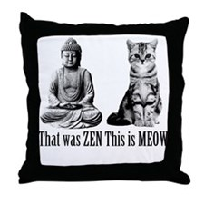 zen cat Throw Pillow