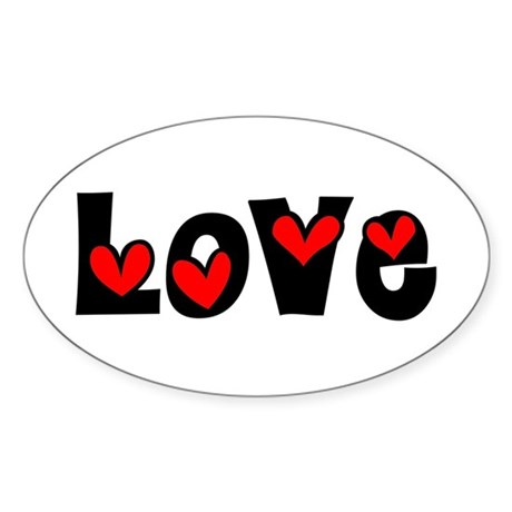 Love Oval Sticker