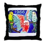 1966 Parrots Throw Pillow