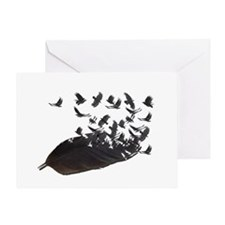 Flying Crow Feather Greeting Card