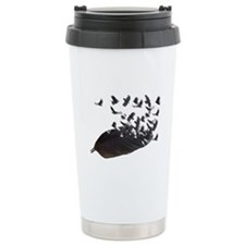 Flying Crow Feather Ceramic Travel Mug