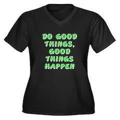Do good things - Women's Plus Size V-Neck Dark T-S