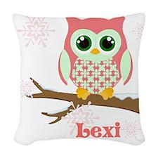 Custom name winter owl girl Woven Throw Pillow