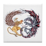 Griffin Fighting Dragon Tile Coaster