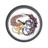 Griffin Fighting Dragon Wall Clock