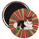 Sleepy Xmas Kitty 2.25&quot; Magnet (10 pack)