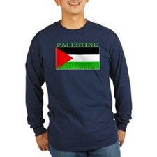 Palestine Palestinian Flag Sleeved Blue T-Shirt