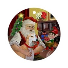 Santa's Red Fawn Greyhound Ornament (Round)