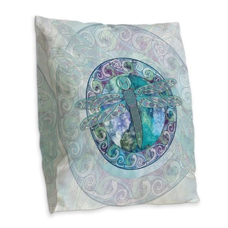 Cool Celtic Dragonfly Burlap Throw Pillow