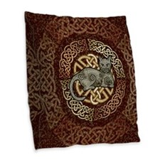 Celtic Cat Burlap Throw Pillow