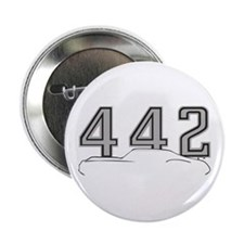 "Cutlass Silhouette - 442 logo up 2.25"" Button"