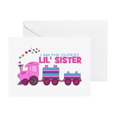 Cutest Lil Sister Train Greeting Cards (Pk of 20)