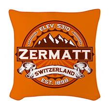Zermatt Logo Tangerine.png Woven Throw Pillow