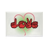 LOVE With Heart Rectangle Magnet (10 pack)