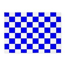 Blue and white checkerboard 5'x7'Area Rug