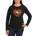 ASL Frog in Heart Women's Long Sleeve Dark T-Shirt
