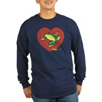ASL Frog in Heart Long Sleeve Dark T-Shirt