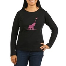 Pink Elephant Stars Women's Long Sleeve Dark Tee