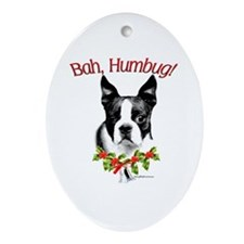 Boston Terrier Bah Humbug Oval Ornament