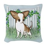 GF Chihuahua- Brown & Wht Woven Throw Pillow