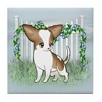 GF Chihuahua- Brown & Wht Tile Coaster