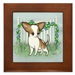 GF Chihuahua- Brown & Wht Framed Tile