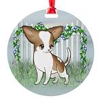 GF Chihuahua- Brown & Wht Round Ornament
