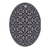 Retro Web Black & White Oval Ornament