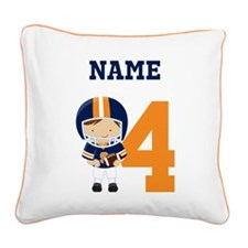 Personalized Football 4 Square Canvas Pillow
