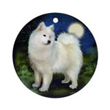 Samoyed Dog Moon Ornament (Round)