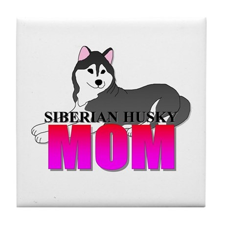 Black Siberian Husky Mom Tile Coaster