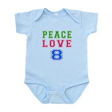 Peace Love 8 birthday designs Infant Bodysuit