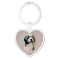 Bearded Collie Heart Keychain