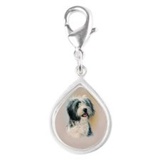 Bearded Collie Silver Teardrop Charm