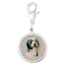 Bearded Collie Silver Round Charm