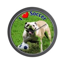 I Love Soccer Bulldog Wall Clock